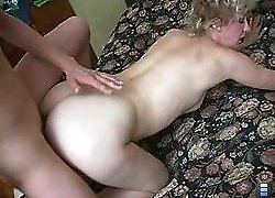 Sleeping mature babe awakened up by a horny boy licking her pussy!