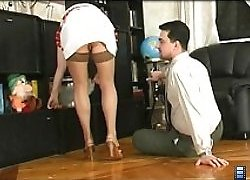 Mature in skirt and lingerie pounded by boss' dick