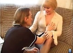 Virgin guy hires an escort MILF lady to have fun