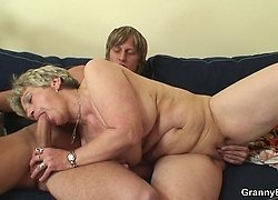 Granny brings him into her apartment and gives his young cock a great time with her body