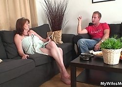 Mature mom in law is thrilled to have his dick up inside her ancient pussy fucking her