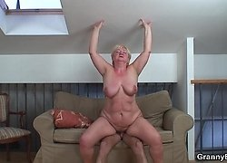 Hard young dick fucks into the old bitch in several positions and she is hot stuff