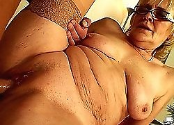 Sweet granny chick has a clean cunt and a big young cock fucks it nice and hard